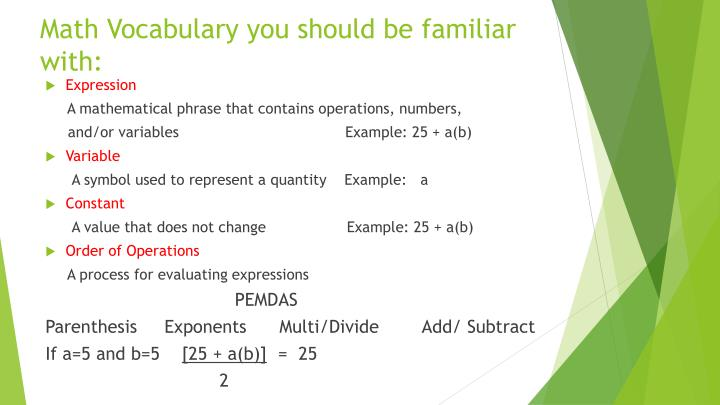Math vocabulary you should be familiar with