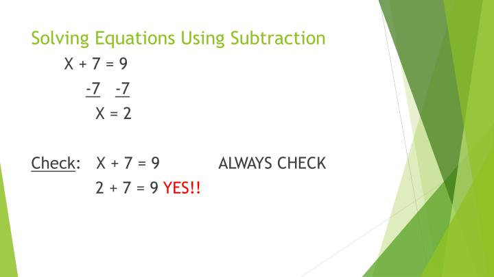 Solving Equations Using Subtraction