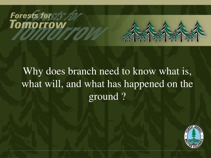 Why does branch need to know what is, what will, and what has happened on the ground ?