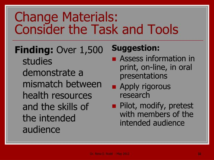 Change Materials: