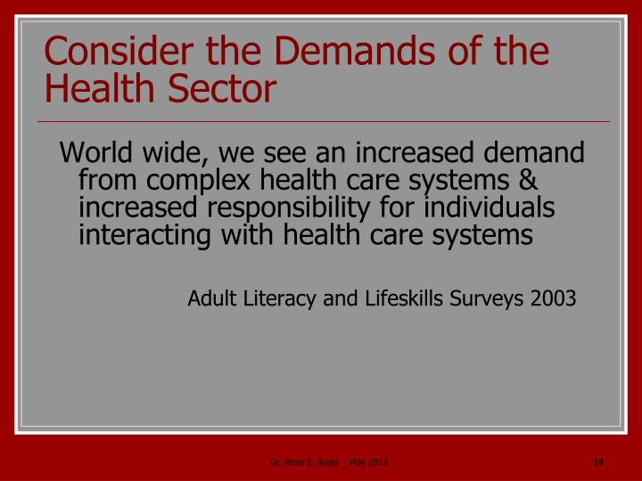Consider the Demands of the Health Sector