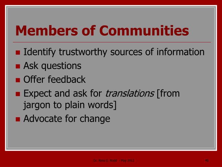 Members of Communities