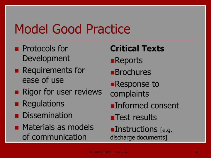 Model Good Practice