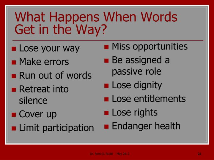 What Happens When Words Get in the Way?