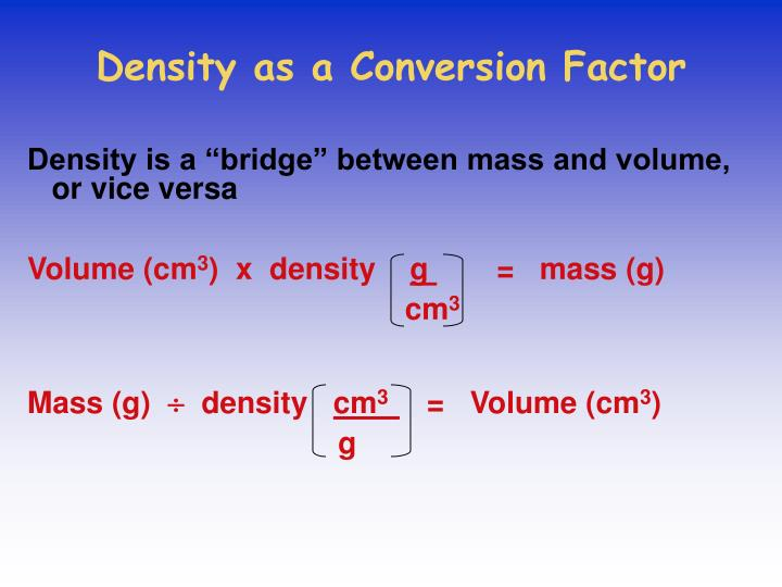 Density as a Conversion Factor