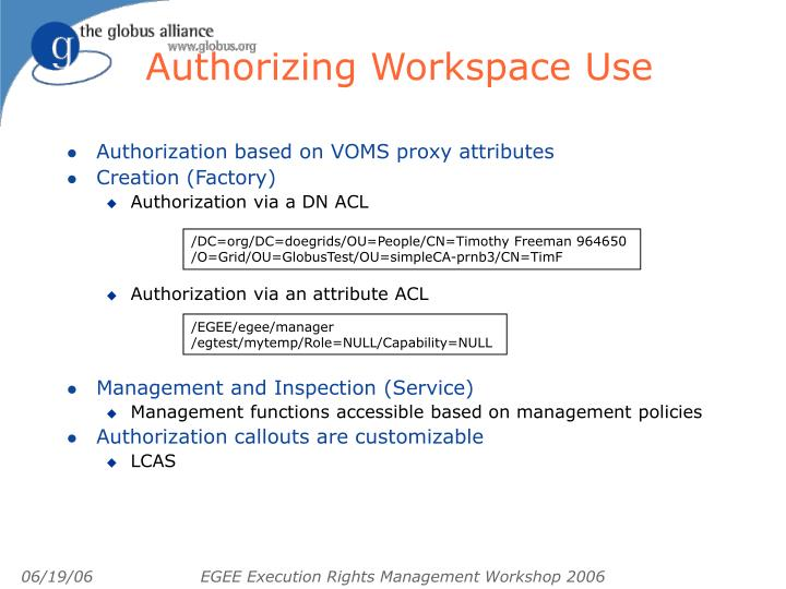 Authorizing Workspace Use