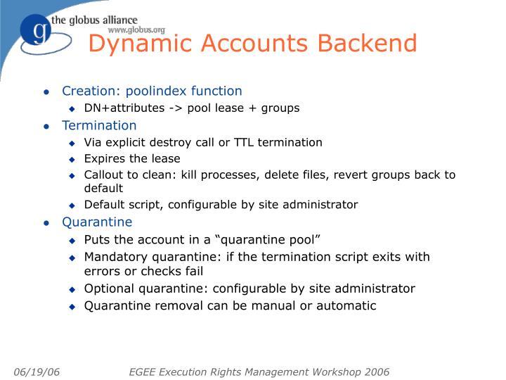 Dynamic Accounts Backend