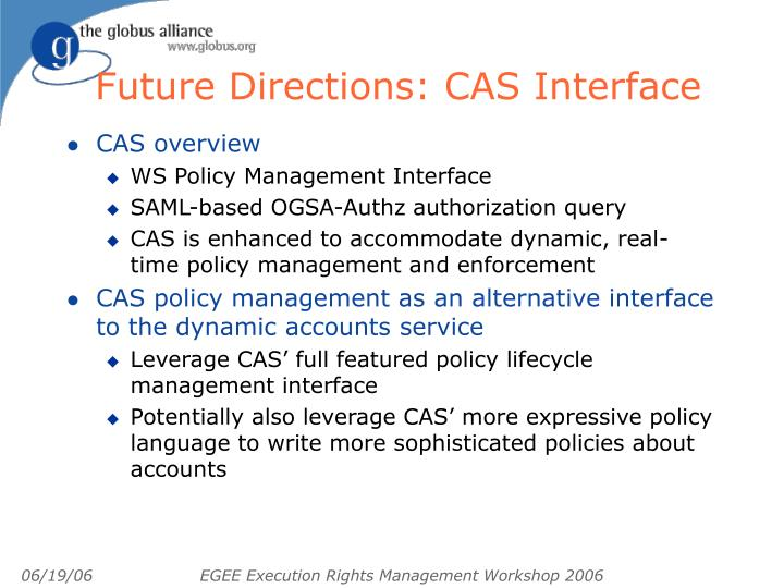 Future Directions: CAS Interface