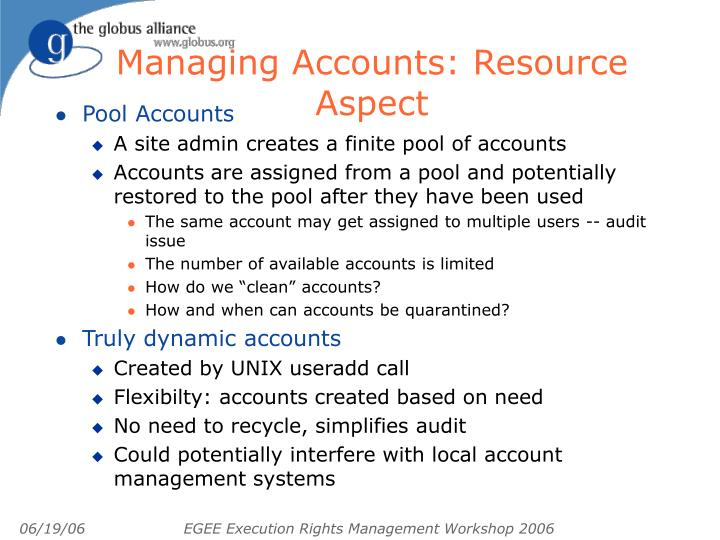 Managing Accounts: Resource Aspect