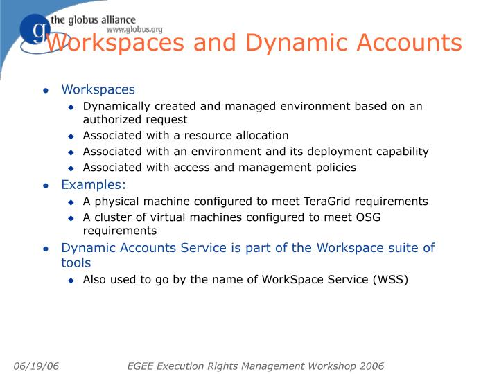 Workspaces and Dynamic Accounts