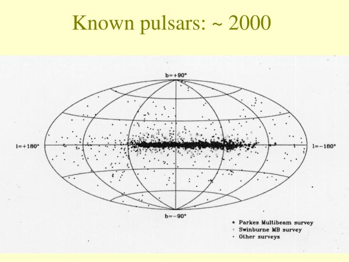 Known pulsars: ~ 2000