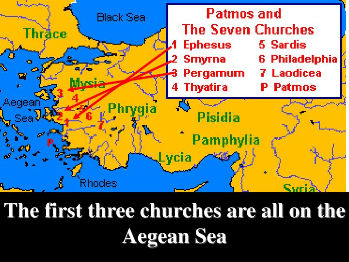 The first three churches are all on the Aegean Sea