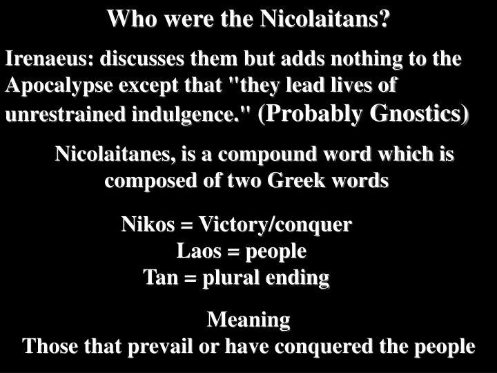 Who were the Nicolaitans?