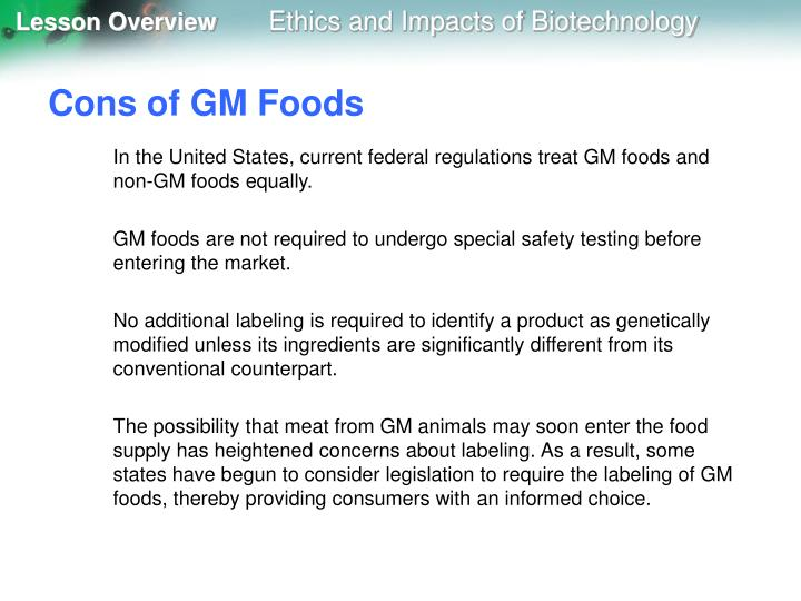 Cons of GM Foods