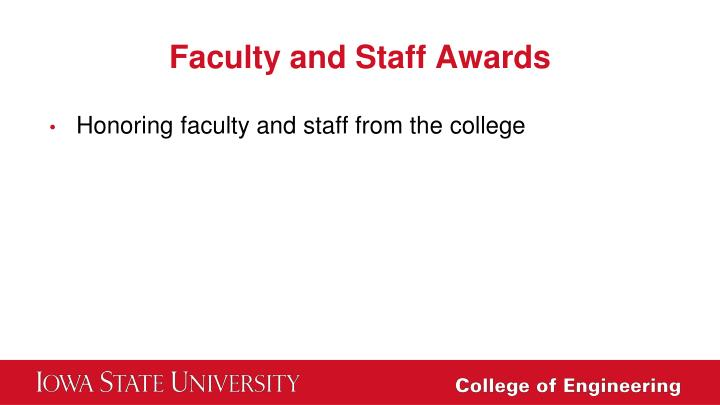 Faculty and Staff Awards