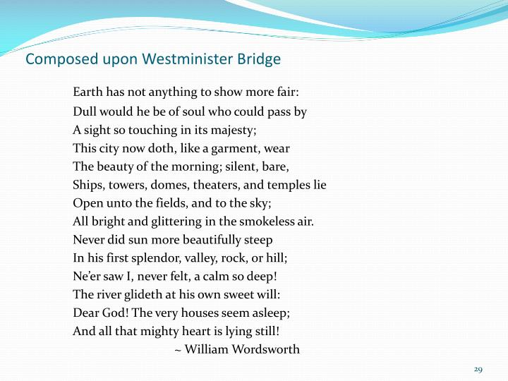 Composed upon Westminister Bridge