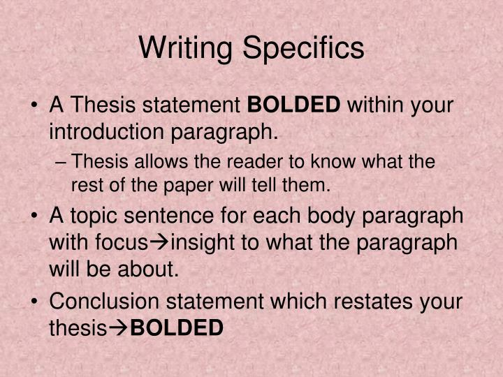 Writing Specifics