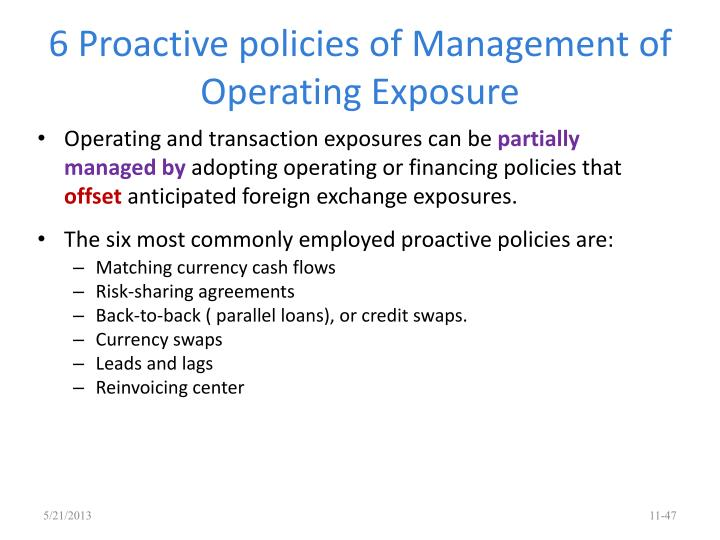 6 Proactive policies of Management of Operating Exposure