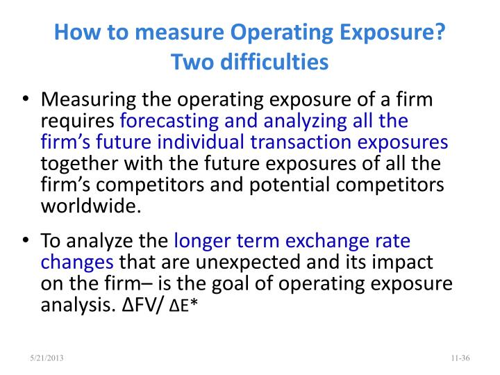 How to measure Operating Exposure? Two difficulties