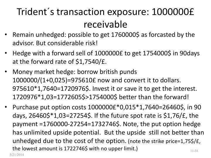 Trident´s transaction exposure: 1000000£ receivable