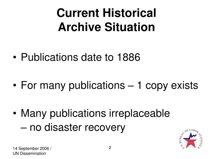 Current historical archive situation