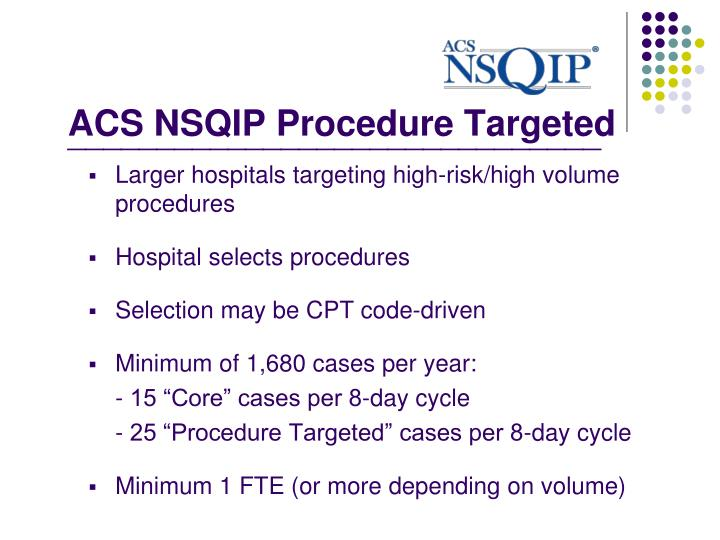 ACS NSQIP Procedure Targeted
