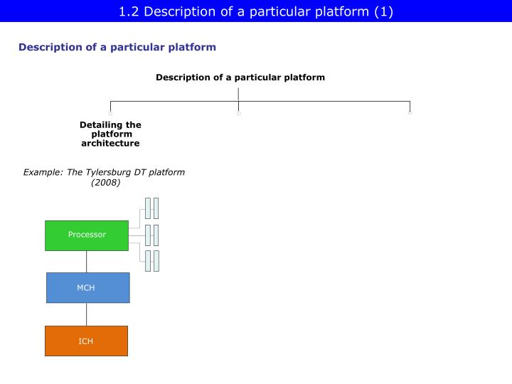 1.2 Description of a particular platform (1)