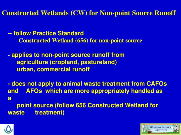 Constructed Wetlands (CW) for Non-point Source Runoff