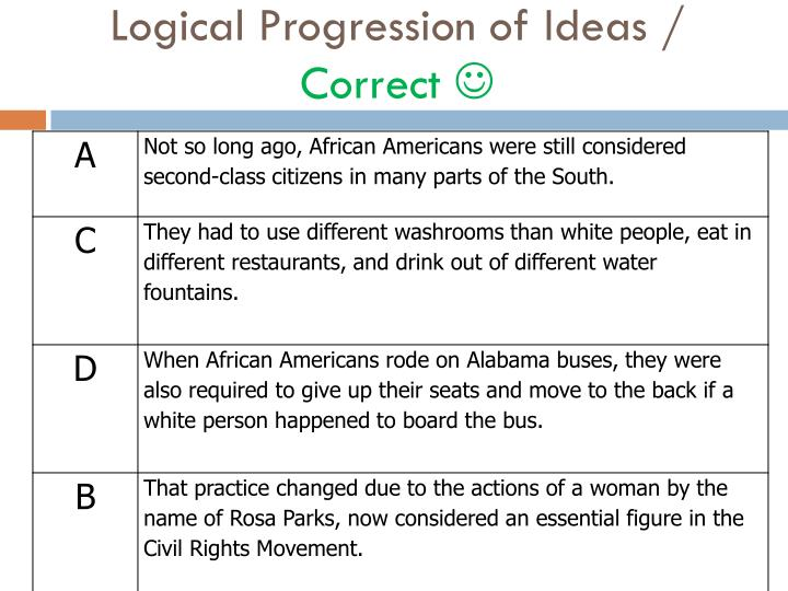 Logical Progression of Ideas /