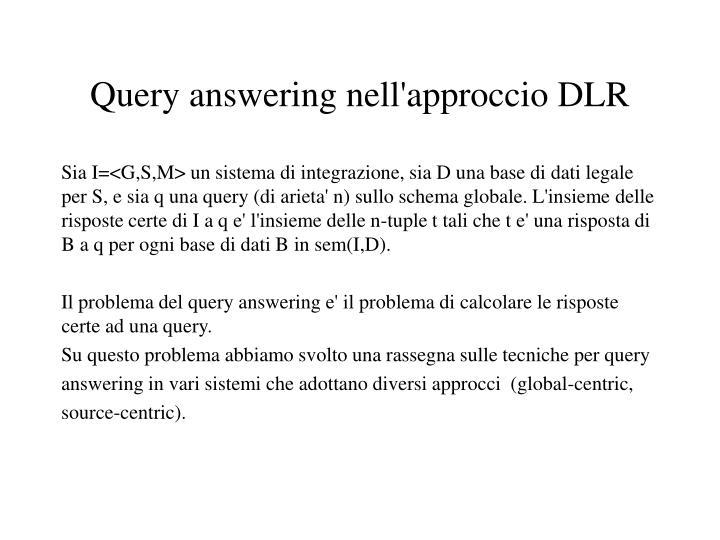 Query answering nell'approccio DLR