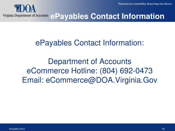 ePayables Contact Information