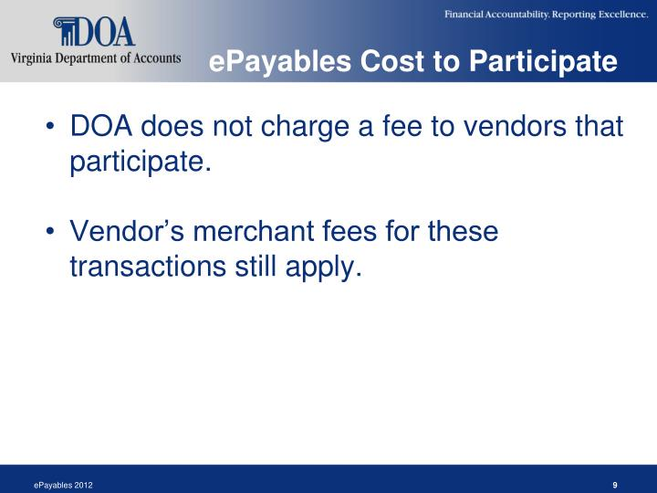 ePayables Cost to Participate