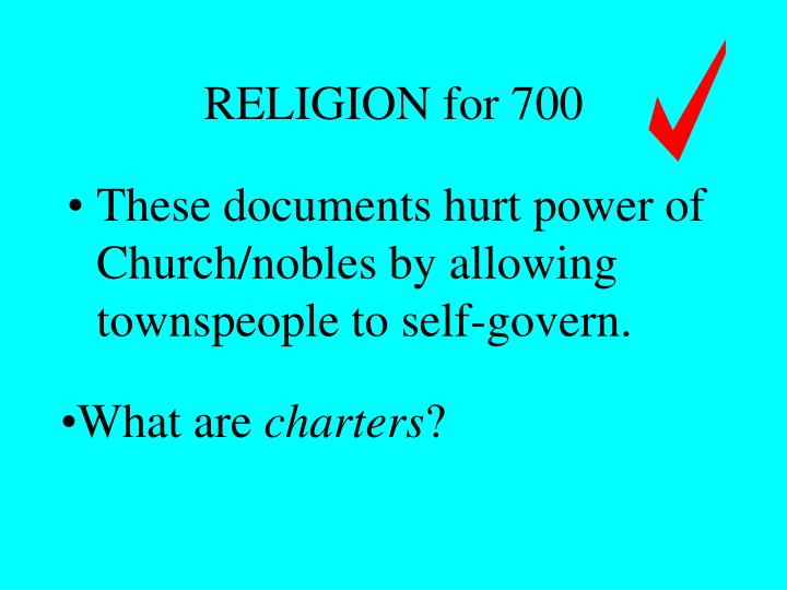 RELIGION for 700