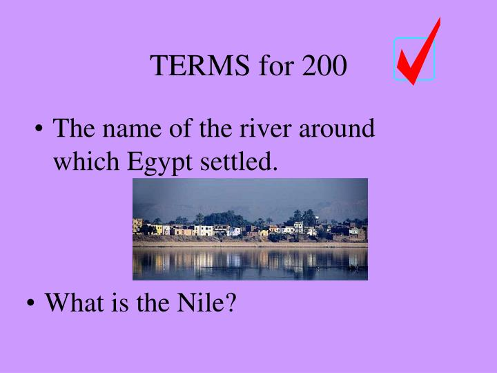 The name of the river around which Egypt settled.