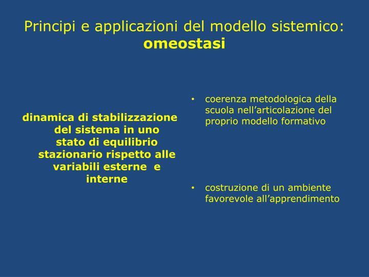 dinamica di stabilizzazione del sistema in uno  stato di equilibrio stazionario rispetto alle variabili esterne  e interne