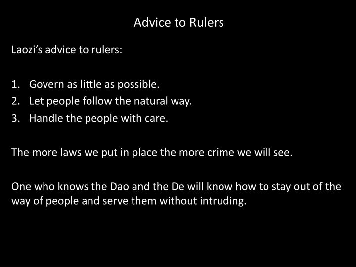 Advice to Rulers