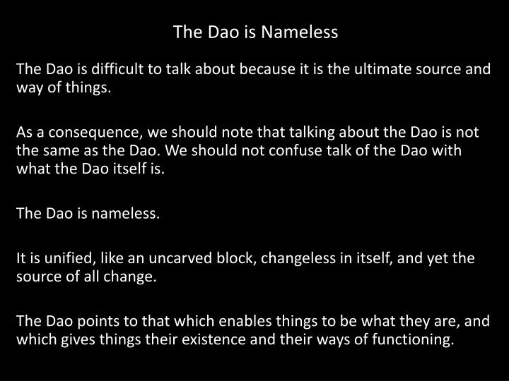 The Dao is Nameless