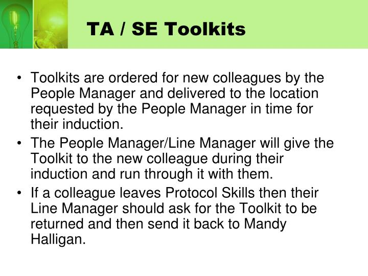 TA / SE Toolkits