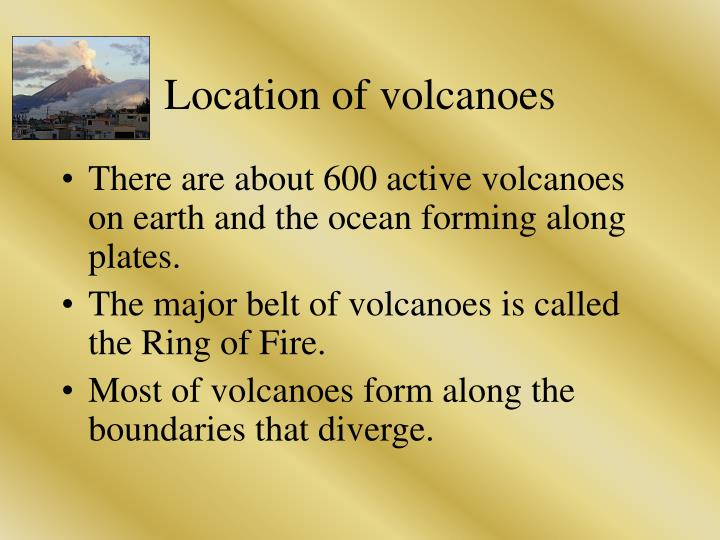 Location of volcanoes