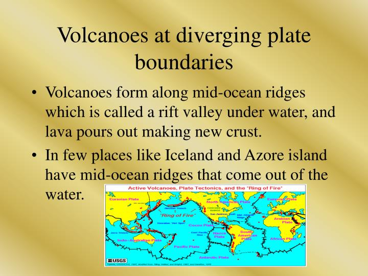 Volcanoes at diverging plate boundaries