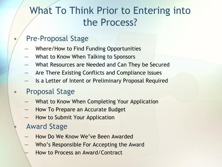 What To Think Prior to Entering into the Process?