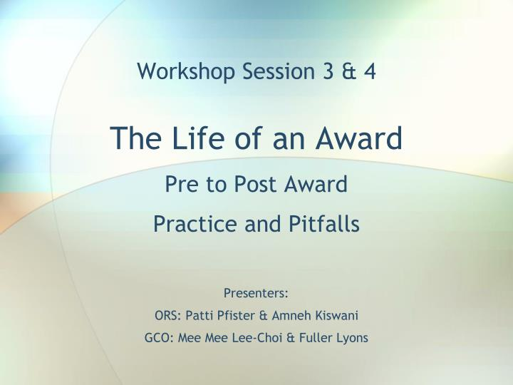 Workshop session 3 4