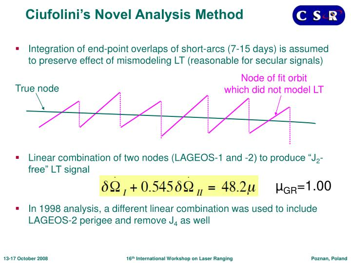 Ciufolini's Novel Analysis Method