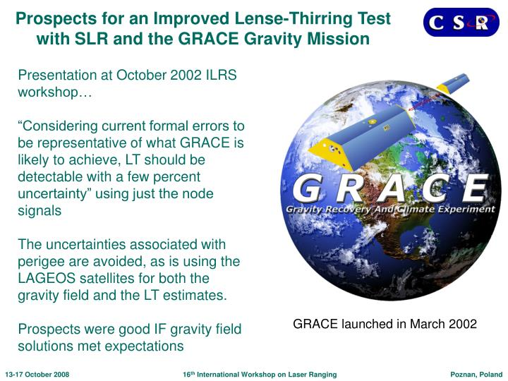 Prospects for an Improved Lense-Thirring Test with SLR and the GRACE Gravity Mission