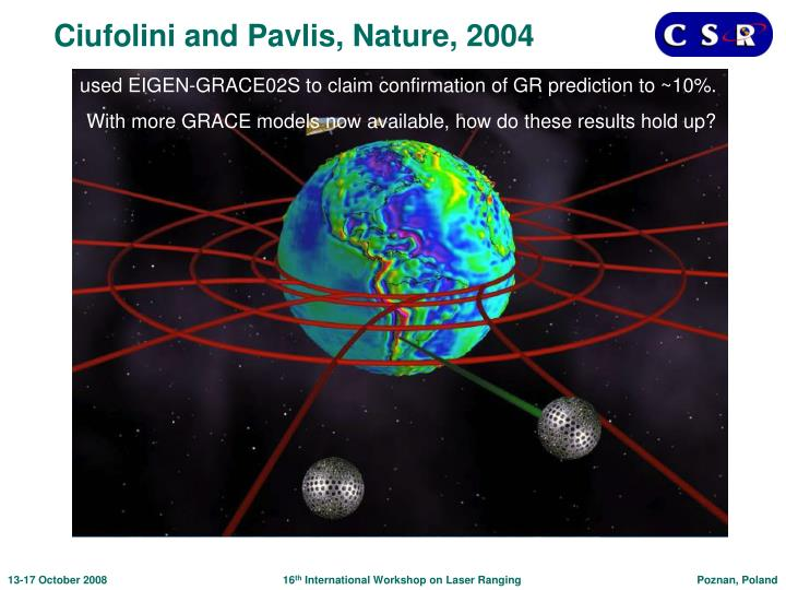 Ciufolini and Pavlis, Nature, 2004