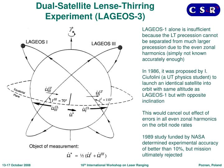 Dual-Satellite Lense-Thirring Experiment (LAGEOS-3)