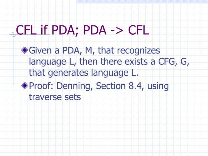 CFL if PDA; PDA -> CFL