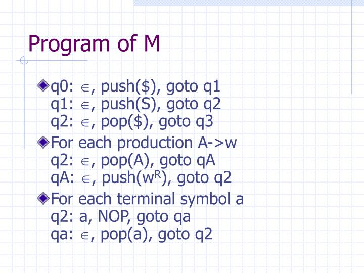 Program of M