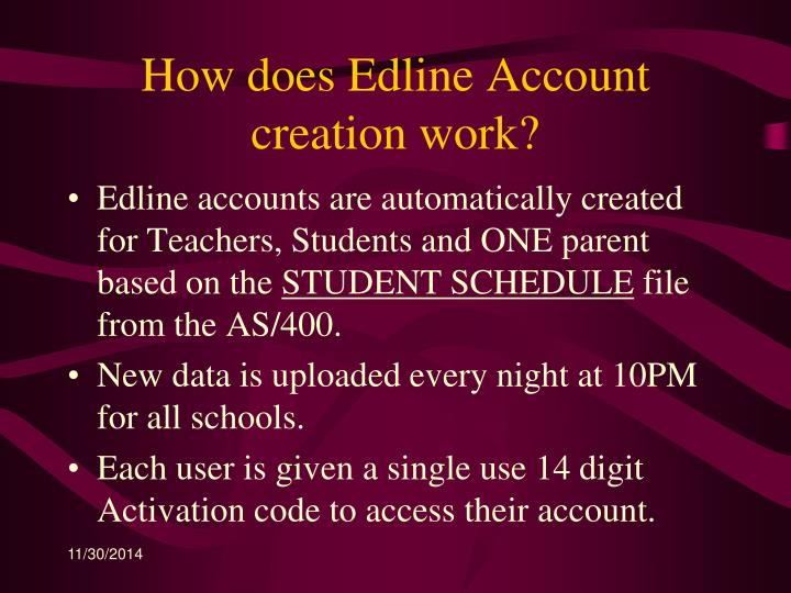 How does Edline Account creation work?