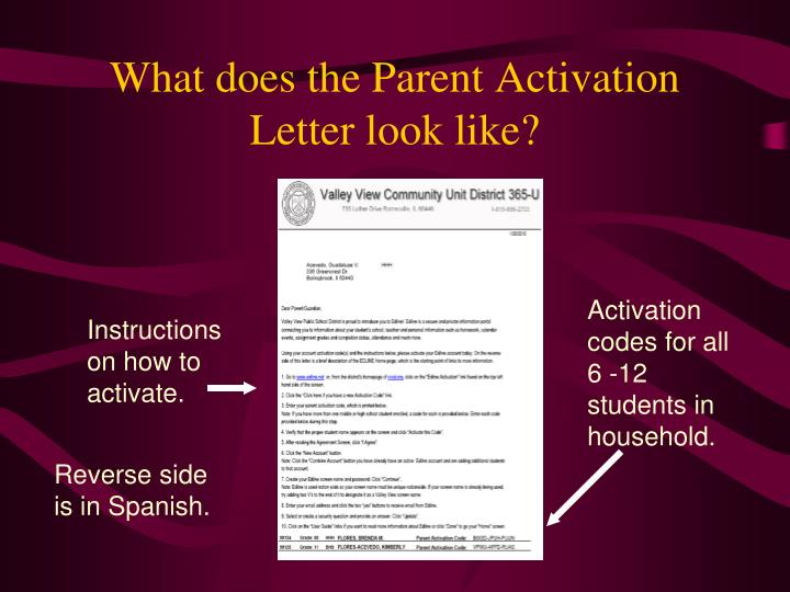 What does the Parent Activation Letter look like?